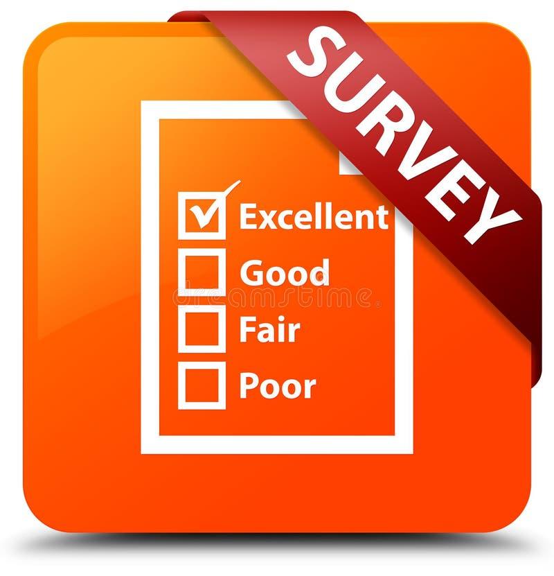 Examine (icono del cuestionario) la cinta roja del botón cuadrado anaranjado en c stock de ilustración