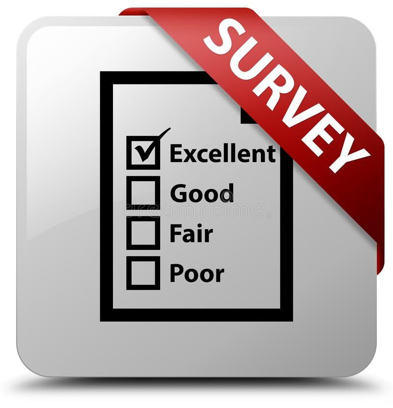 Examine (icono del cuestionario) la cinta roja del botón de la casilla blanca en el co stock de ilustración