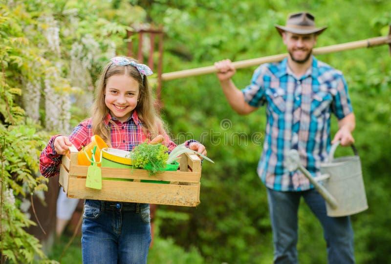 Examine su jard?n diario para manchar problema del insecto temprano Pap? de la familia y ni?a de la hija que planta las plantas D imagenes de archivo