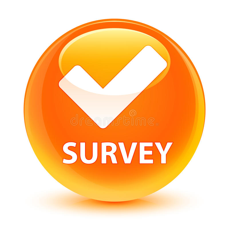 Examine (valide el icono) el botón redondo anaranjado vidrioso stock de ilustración