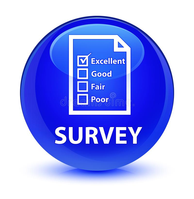 Examinez (icône de questionnaire) le bouton rond bleu vitreux illustration libre de droits