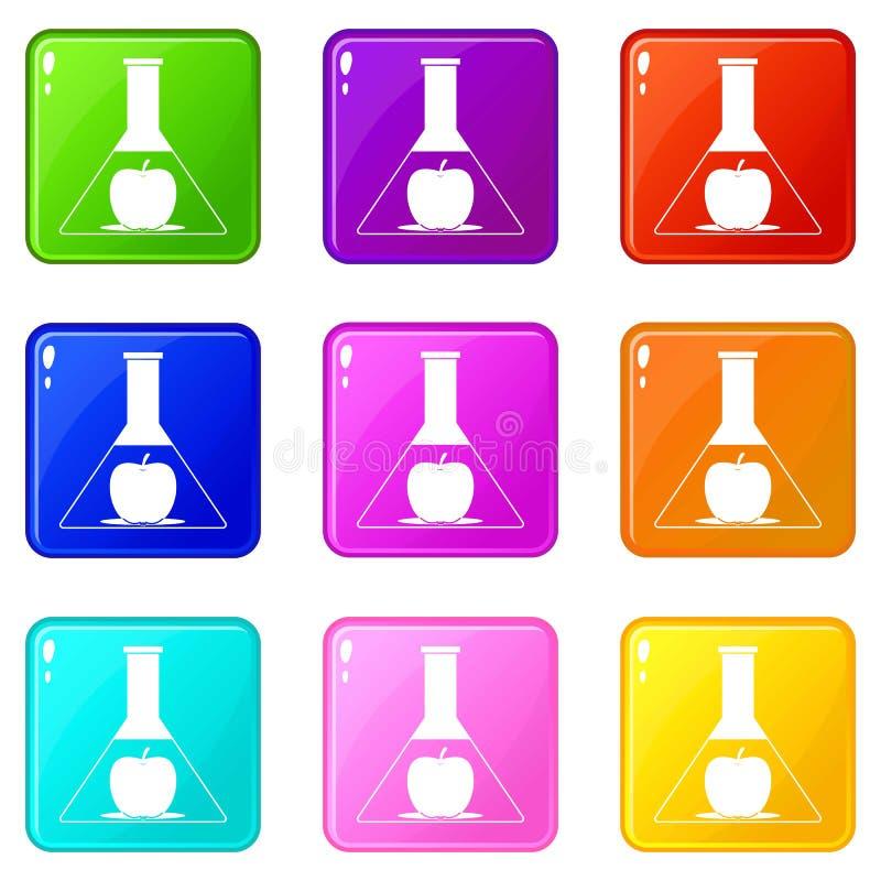 Examinez le flacon avec l'ensemble des icônes 9 de pomme illustration de vecteur