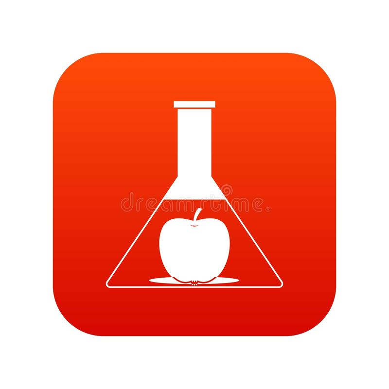 Examinez le flacon avec le rouge numérique d'icône de pomme illustration libre de droits