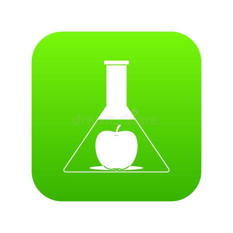 Examinez le flacon avec le vert numérique d'icône de pomme illustration de vecteur