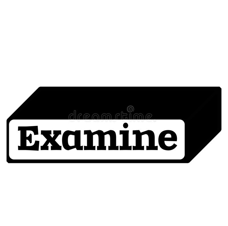 EXAMINEZ le timbre sur le fond blanc illustration stock