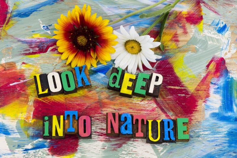 Examinez profondément l'impression typographique de nature images stock