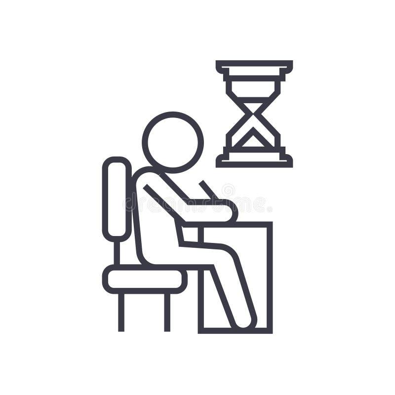 Examing, essai, écrivant l'homme à l'icône linéaire de bureau, signe, symbole, vecteur sur le fond d'isolement illustration de vecteur