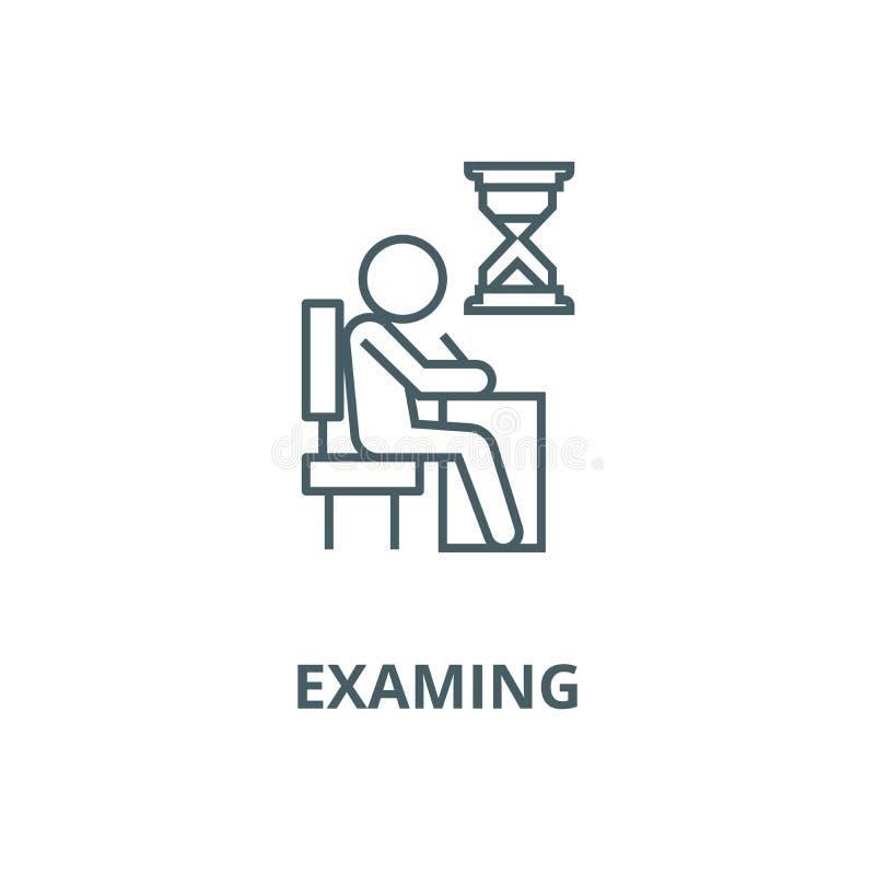 Examing, test, pisze mężczyzny przy biurko linii ikoną, wektor Examing, test, pisze mężczyzny przy biurko konturu znakiem, p royalty ilustracja
