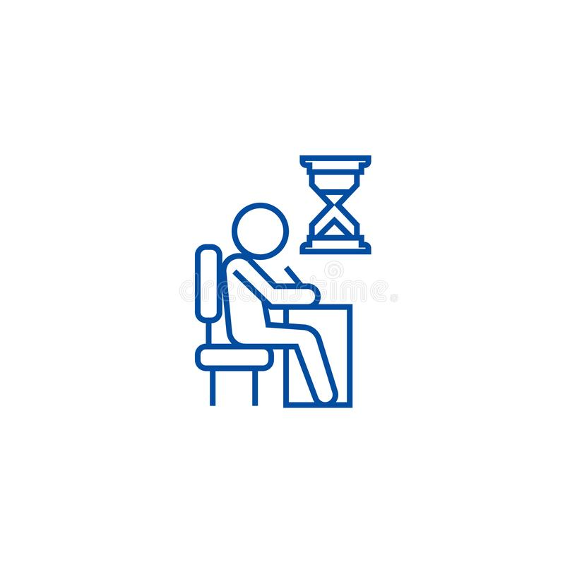 Examing, test, writing man at desk line icon concept. Examing, test, writing man at desk flat vector symbol, sign stock illustration