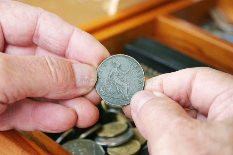 Examining 1891 UK penny stock photo