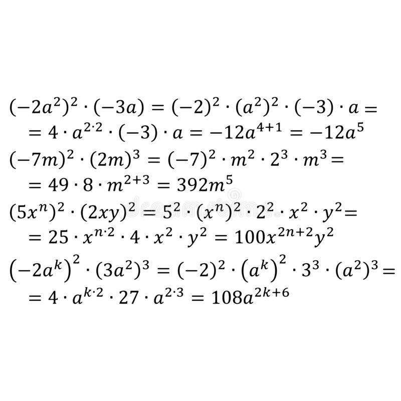 An example of an algebraic multiplication of degrees with the same base positive and negative integers degree to degree. An example of algebraic multiplication vector illustration