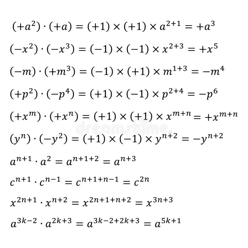 An example of an algebraic multiplication of degrees with the same base, positive and negative numbers. An example of algebraic multiplication of monomials vector illustration