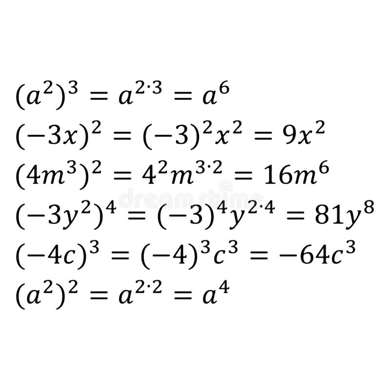 An example of an algebraic multiplication of powers with the same base are simple fractions a power of a power. An example of algebraic multiplication of royalty free illustration