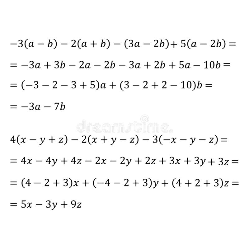 An example of an algebraic problem of opening brackets multiplication of polynomials and monomials is an example of. Example of an algebraic problem of opening stock illustration
