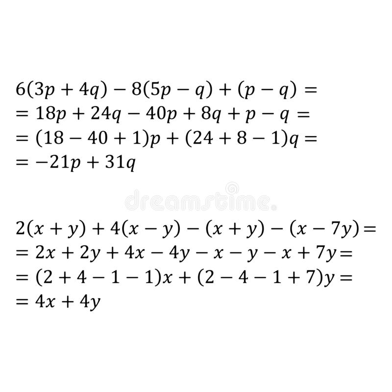 An example of an algebraic problem of opening parentheses multiplication of polynomials and monomials is an example of. Example of an algebraic problem of vector illustration