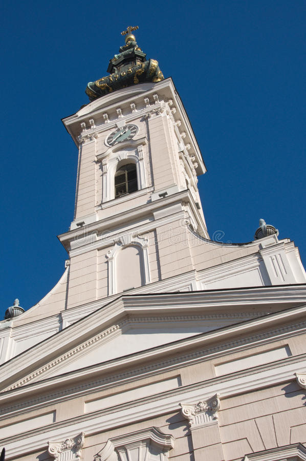 Example of a beautiful facade of a Neo-Baroque church. Example of a luxury Neo-Baroque church in Novi Sad is located at the end of the central street. The church royalty free stock photo