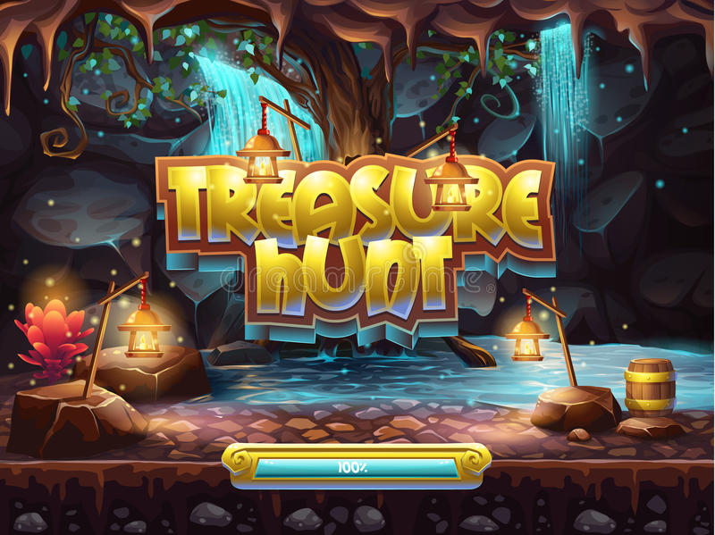 Example of the boot screen to play treasure hunt stock illustration