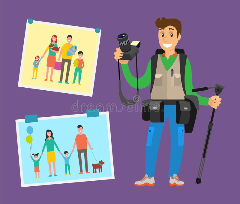 Example Cameraman Content, Family Pictures Parents. Example of cameraman content, family pictures of parents and children vector. Cute photographer with royalty free illustration