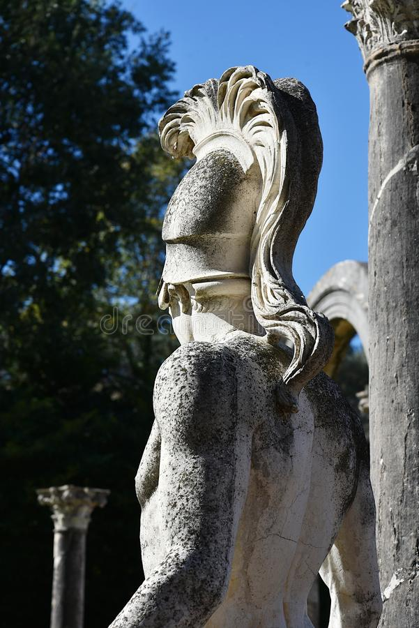 Example of classic beauty in a roman villa. Detail of Canopus. Villa Adriana in Tivoli, near Rome. Italy. Unesco site royalty free stock photography