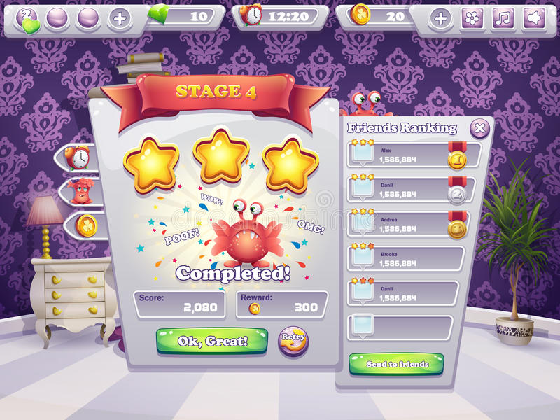 Example of completing the level in a computer game monsters stock illustration