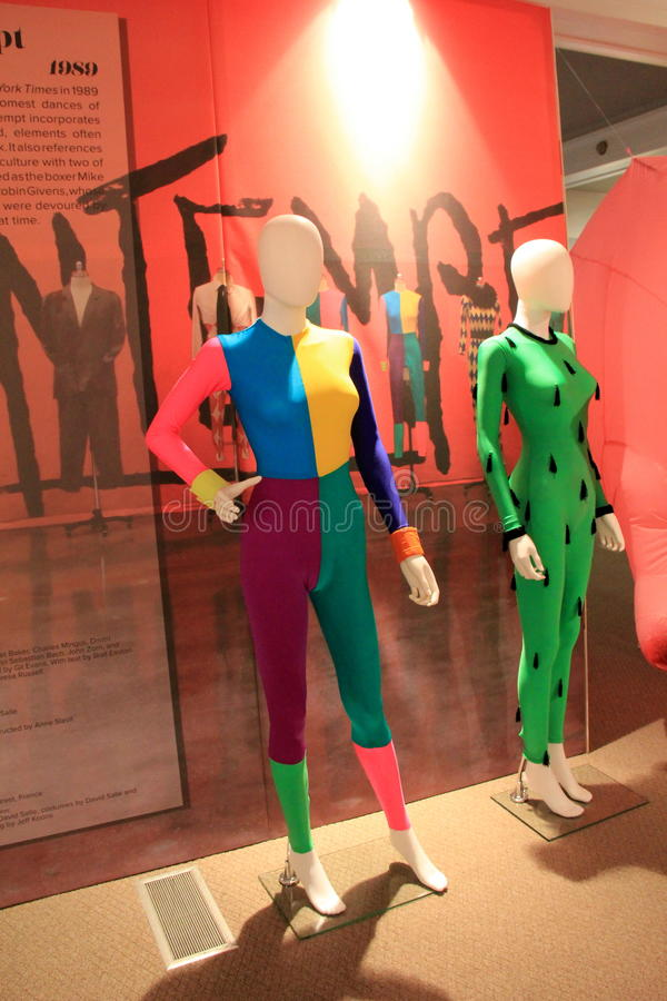 Example of dancing costumes in the '80's, National Museum of Dance and Hall of Fame, Saratoga Springs, New York,2015. Colorful and bold design in dancing stock images