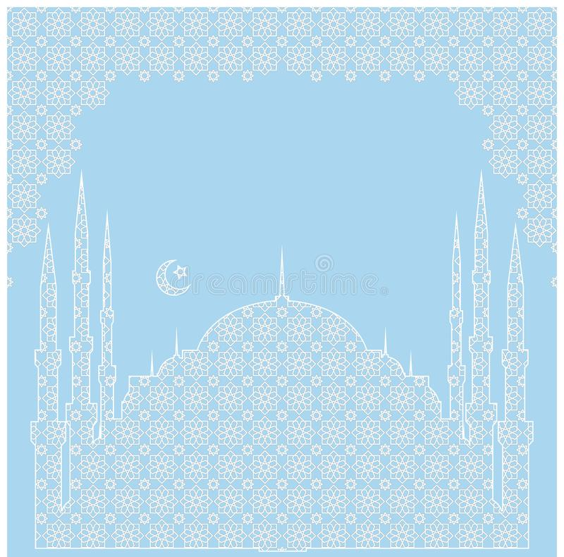 An example of a festive banner with a silhouette of a mosque.Free for text.. vector illustration