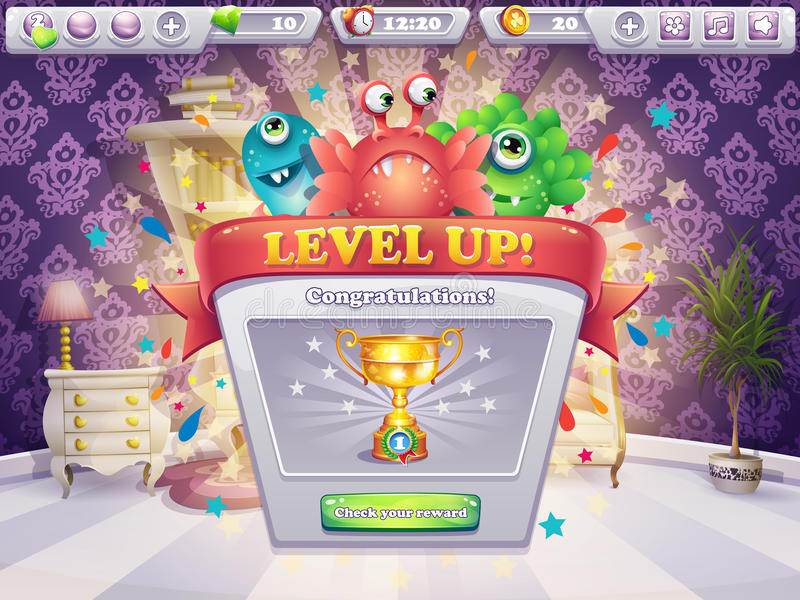 Example of the game window receiving award vector illustration