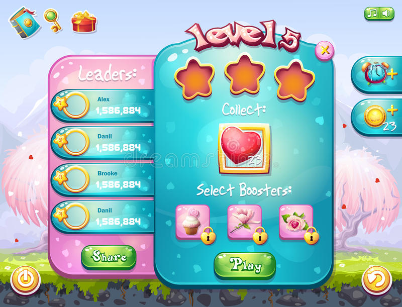 Example of the game window on the theme of Valentine's Day. Example of the game window to the task for a computer game on the theme of Valentine's Day vector illustration