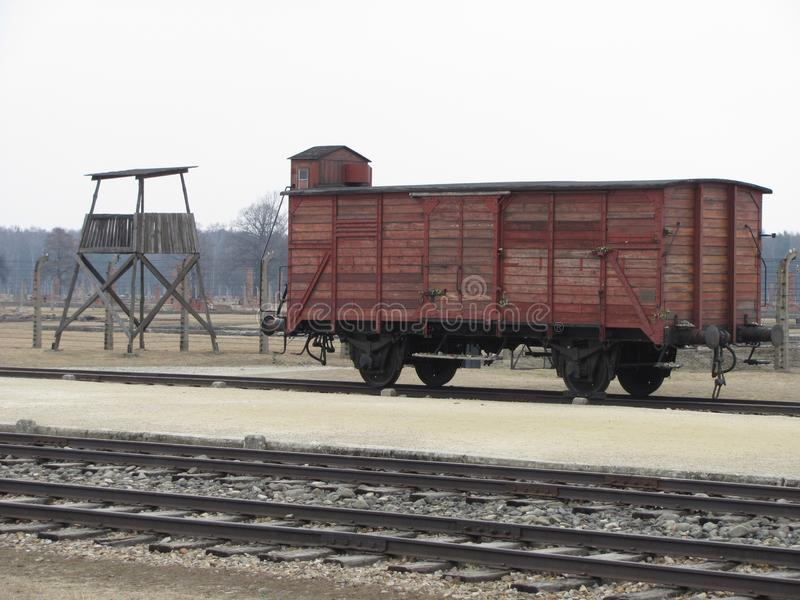 Train `Cattle` Car and Guard Tower. This is an example, if not original, railroad freight car that is on display at Auschwitz, Camp II. There are no windows for royalty free stock images