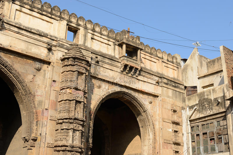 Example of Indian architecture in Ahmadabad, India. Historic building in Ahmadabad town in the Indian state of Gujarat royalty free stock photos