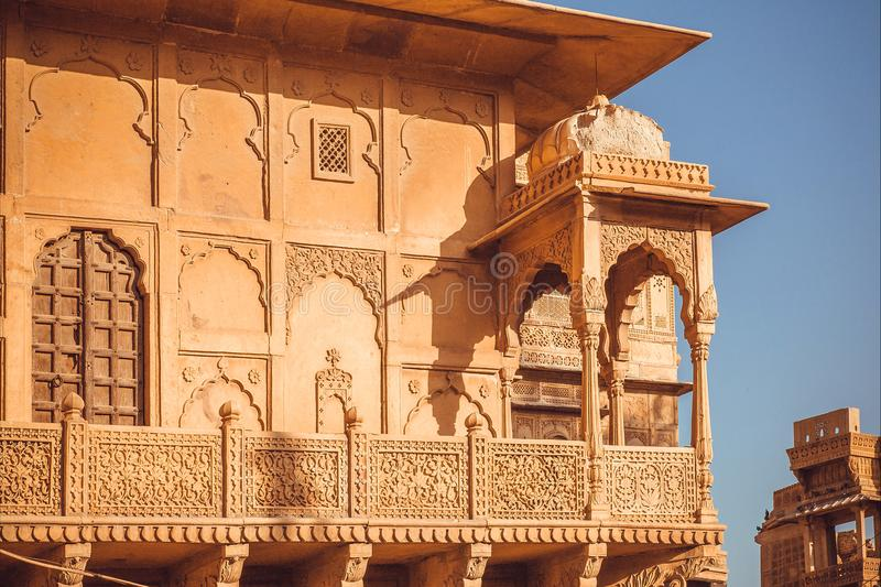 Download Example Of Indian Architecture With Details Of Facade Of  Historical House, Walls, Balcony