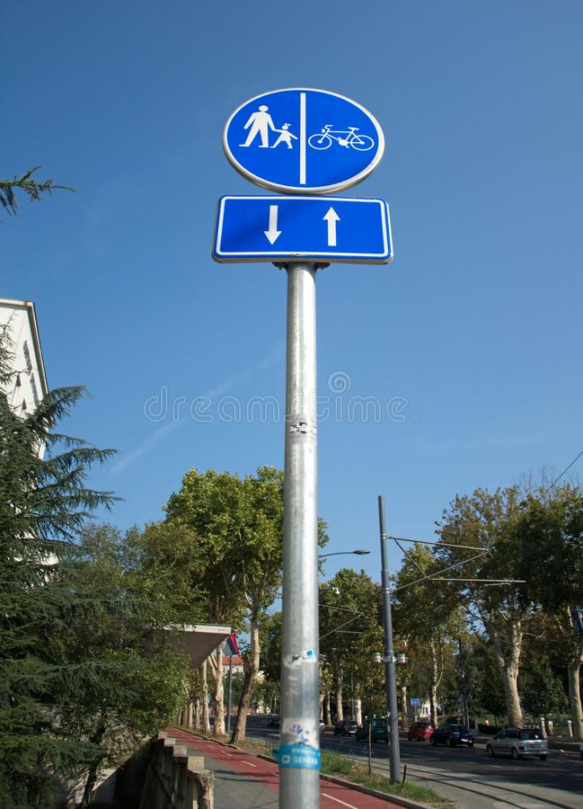 International road sign: Only pedestrians and bicycles may use the route, no motorized vehicles are allowed royalty free stock photography