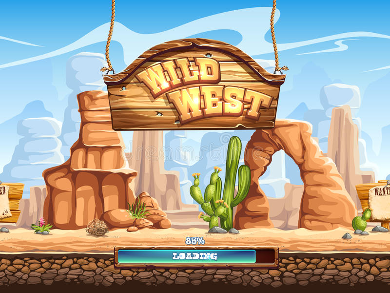 Example of the loading screen for a computer game Wild West stock illustration