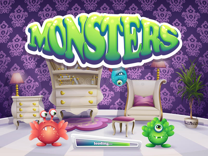 Example of loading screen for the game Monsters vector illustration