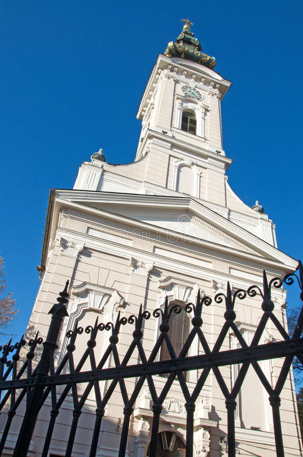 Example of a luxury Neo-Baroque church. In Novi Sad is located at the end of the central street. The church is richly decorated and on the tower there are royalty free stock photography