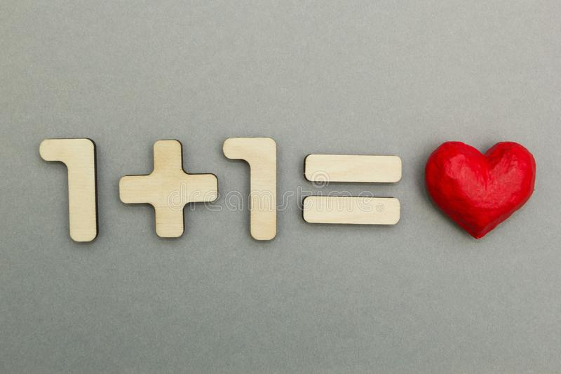 Example: one plus one is exactly love.  royalty free stock image