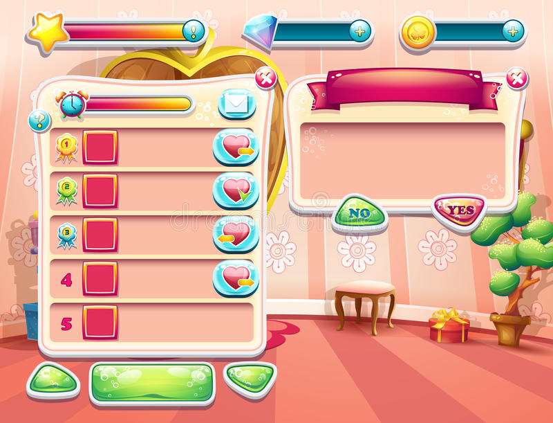 An example of one of the screens of the computer game with a loading background bedroom princess, user interface and various. Element. Set 2 vector illustration