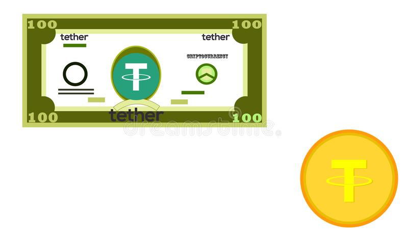 An example of a paper crypt currency is tether. Coin of crypto currency. Design of electronic money. vector illustration. Vector illustration royalty free illustration