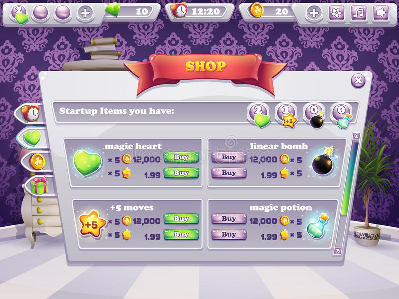 Example of shop window for a computer game. Selling items, boosters royalty free illustration