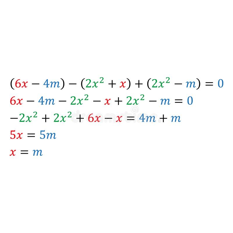 An example of solving an algebraic parametric equation with one variable. Positive and negative numbers are square. An example of solving an algebraic parametric royalty free illustration