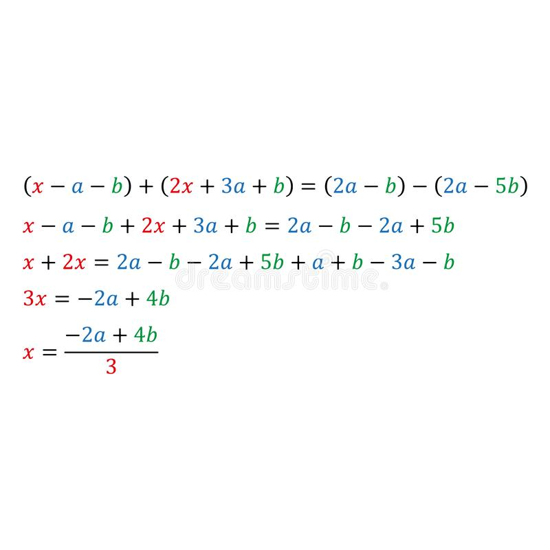 An example of solving an algebraic parametric equation with one variable fraction and integers. An example of solving an algebraic parametric equation with a royalty free illustration