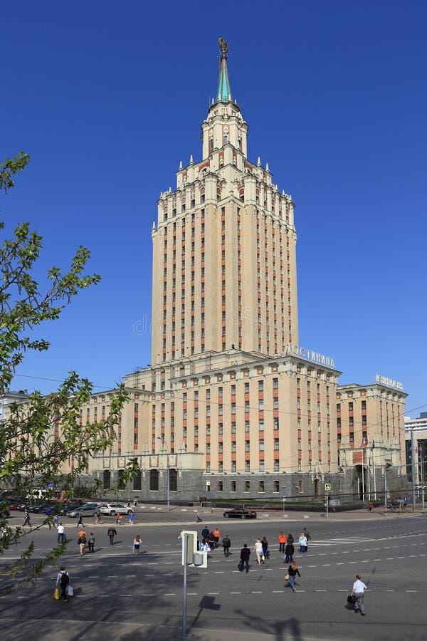 Example of Soviet architecture of the hotel Leningradskaya in Mo stock photography