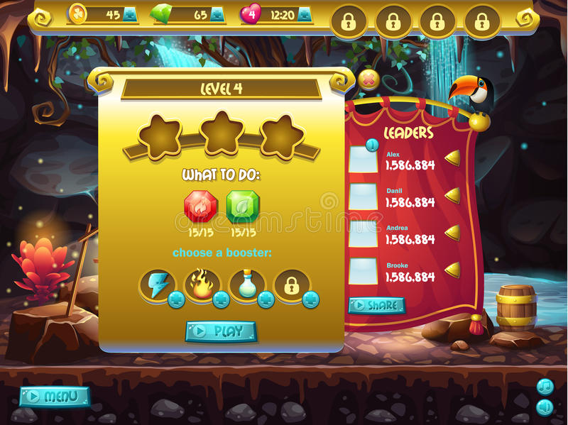 Example of user interface of a computer game, a screen to specify passage level.  stock illustration