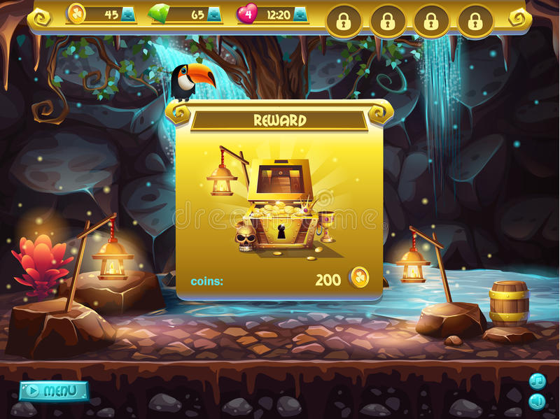 Example of a user interface for a computer game treasure hunt. Window receiving the award. Example of a user interface for a computer game treasure hunt. Window vector illustration