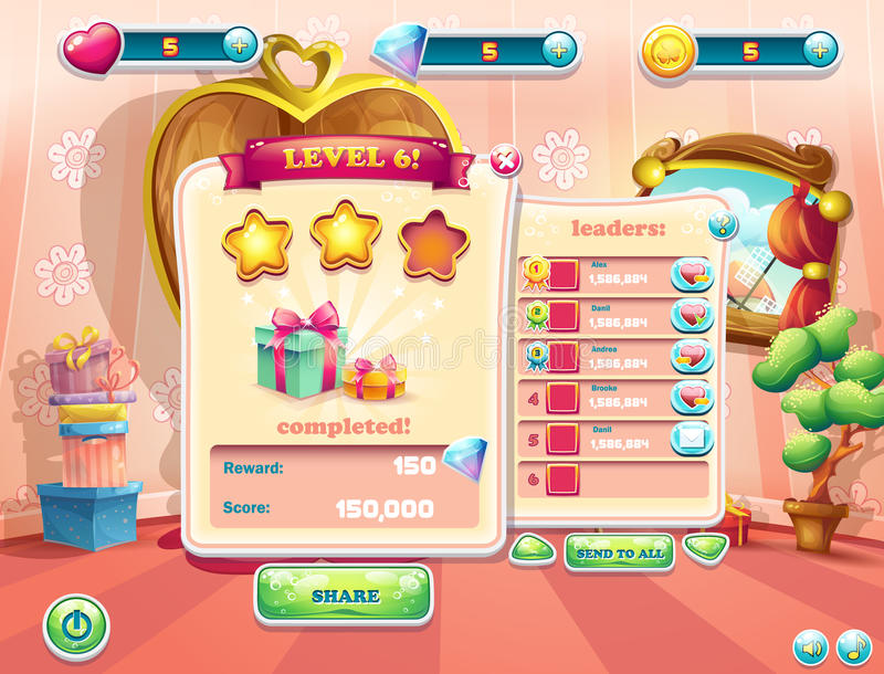 Example of the user interface of a computer game. Window complete a level. Example of the user interface of a computer game. Window complete a level vector illustration