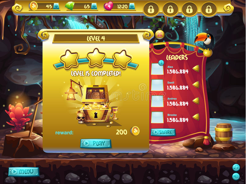 Example of user interface of a computer game, a window level completion.  royalty free illustration