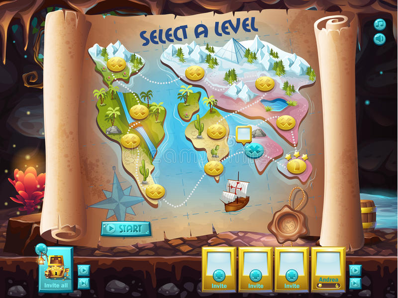 Example of the user interface to select the level to play treasure hunt royalty free illustration