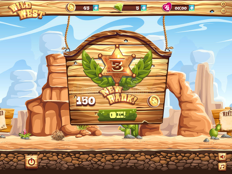 Example of window change rank in the game Wild West stock illustration