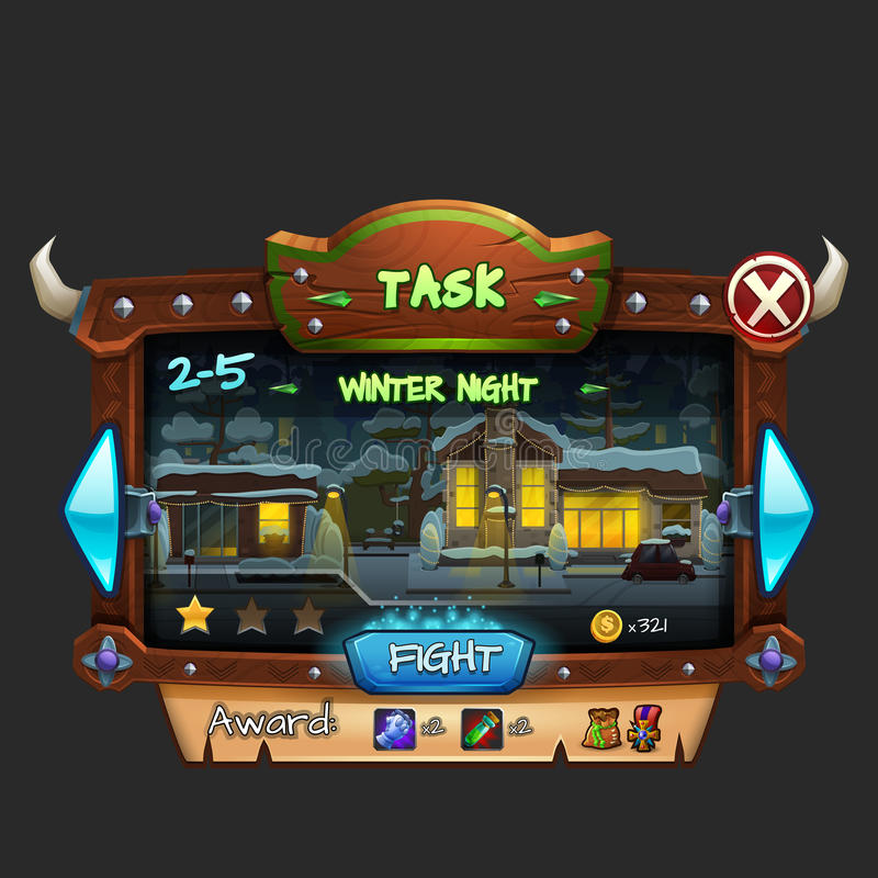 Example of wooden board user interface of game. Window level choice. Vector illustration royalty free illustration