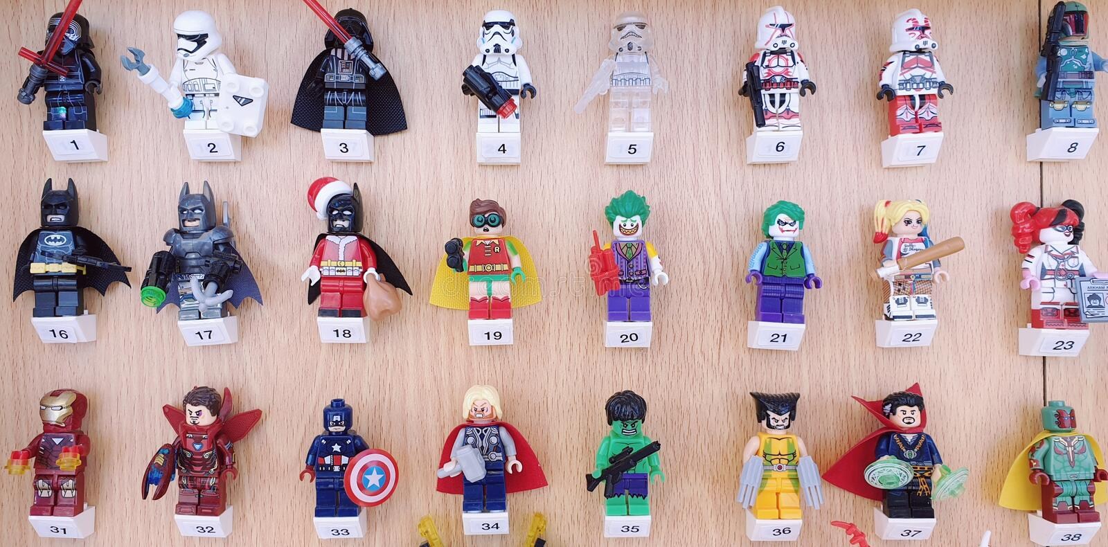 Examples of famous movie Characters in Lego. Examples famous movie characters lego including Thor, Captain America, Iron Man, Hulk, Batman, Joker, Robin, Suicide royalty free stock photography